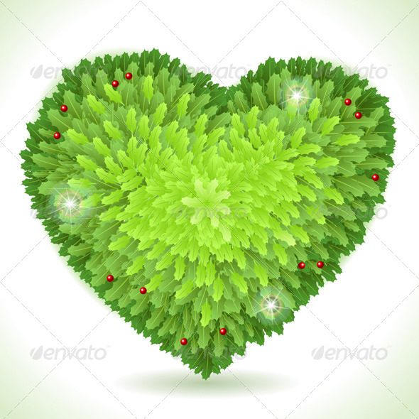 Holly Leaves Heart Placeholder Isolated on White - Decorative Symbols Decorative