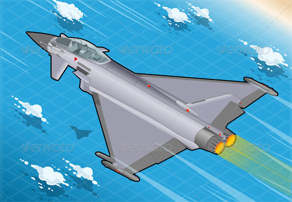 Isometric Eurofighter in Flight in Rear View - Objects Vectors