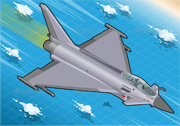 Isometric Eurofighter in Flight in Front View - Objects Vectors