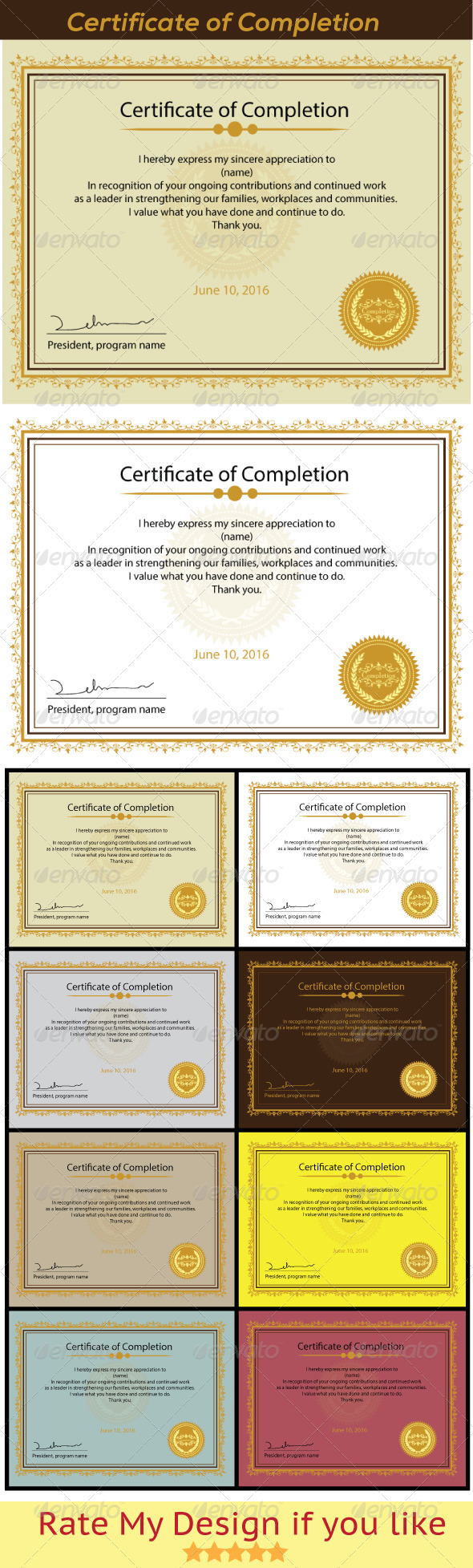 Certificate of Completion - Certificates Stationery
