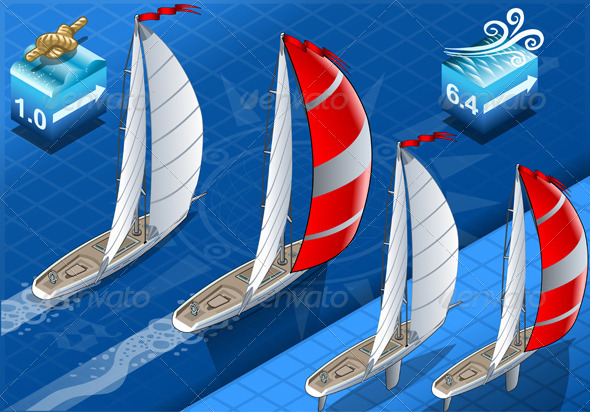 Isometric Sailships in Navigation in Rear View - Sports/Activity Conceptual