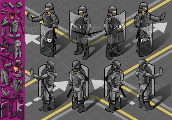 Isometric Set of Eight  Standing Policeman - People Characters
