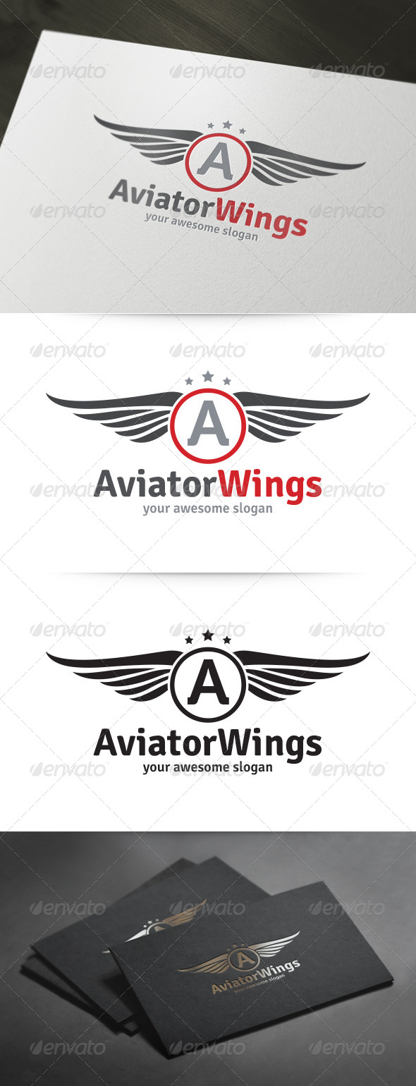 Aviator Wings Logo - Objects Logo Templates