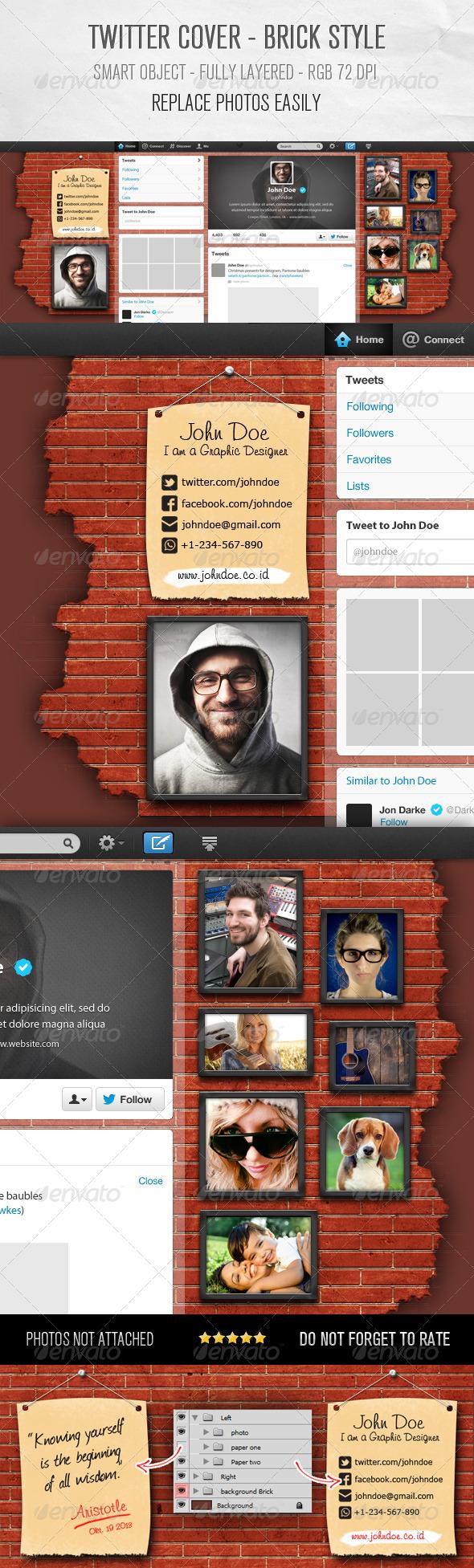 Twitter Background Design - Brick Style - Twitter Social Media
