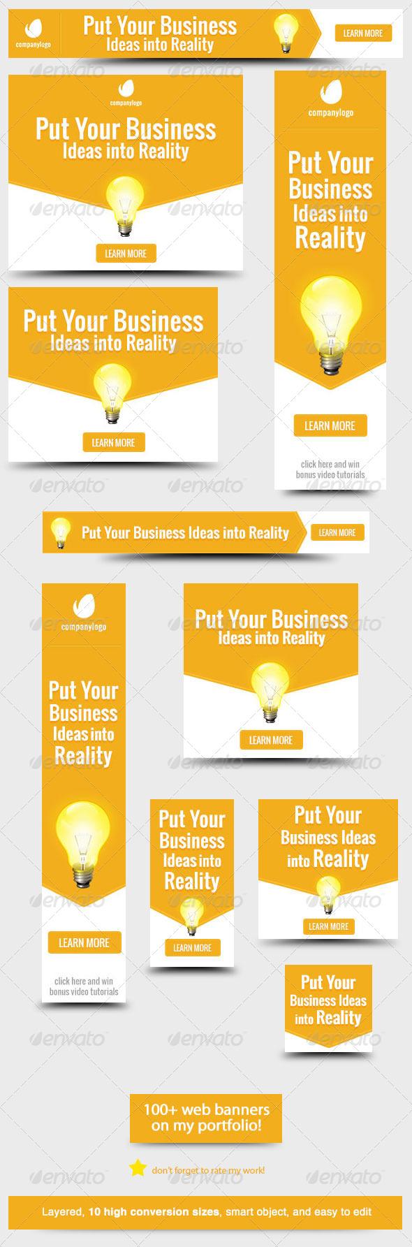 Business Idea Web Banner Design - Banners & Ads Web Elements