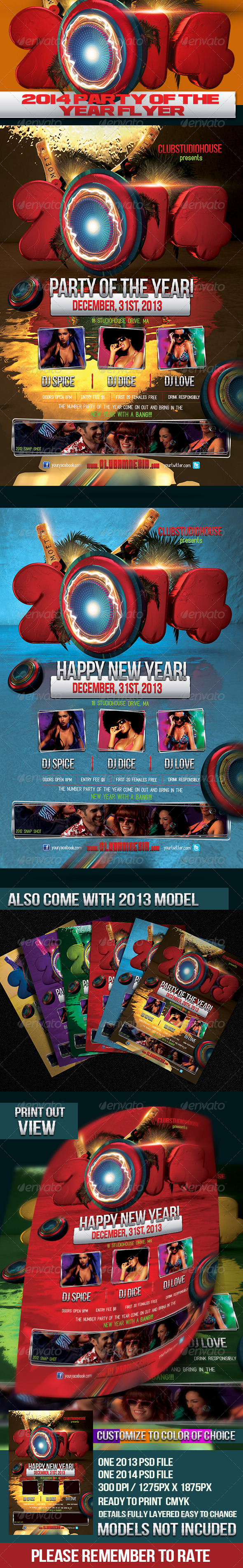 2014/2013 Party Of The Year Flyer Design - Holidays Events