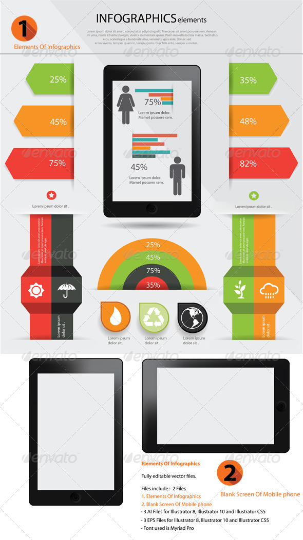 Elements Of infographics & Blank Screen of Mobile  - Infographics