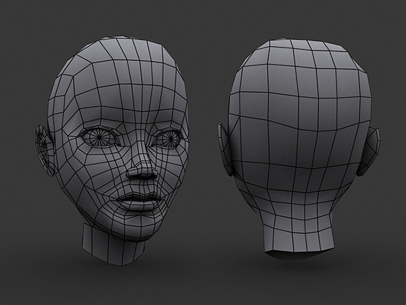 Human Manga Female Head Base Mesh - Low Poly - 3DOcean Item for Sale