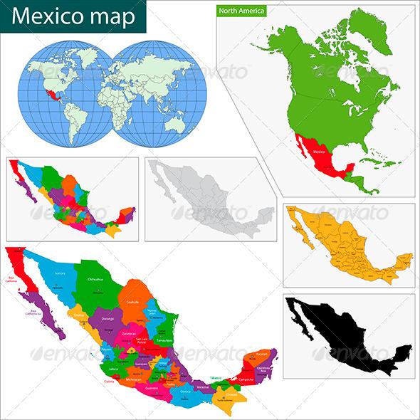 Mexico Map - Travel Conceptual