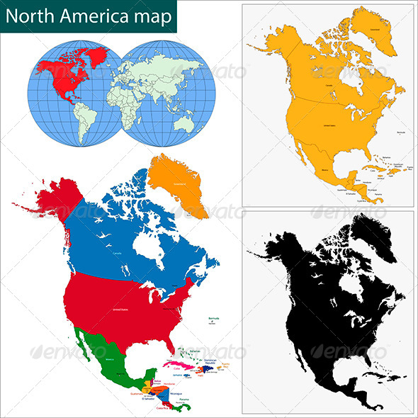 North America Map - Travel Conceptual