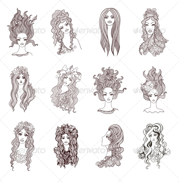 Collection of Artistic Girls - People Characters