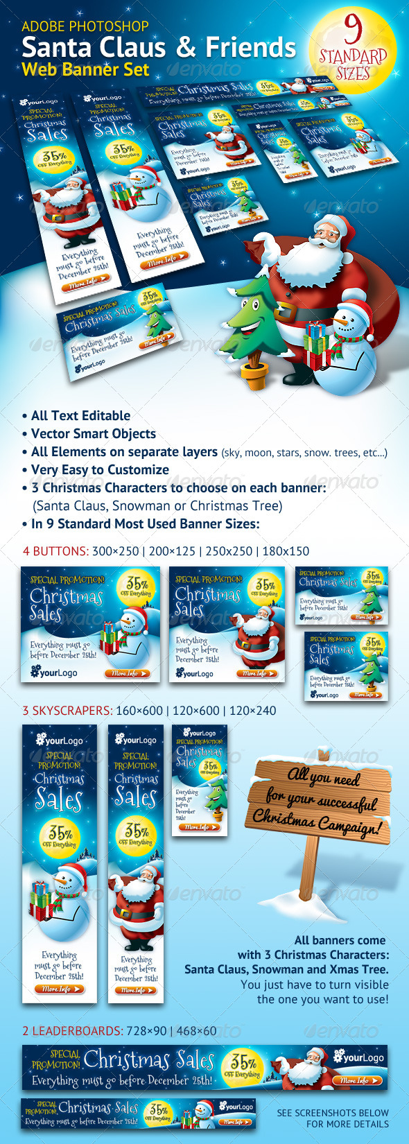 Santa Claus & Friends Christmas Web Banner Set - Banners & Ads Web Elements