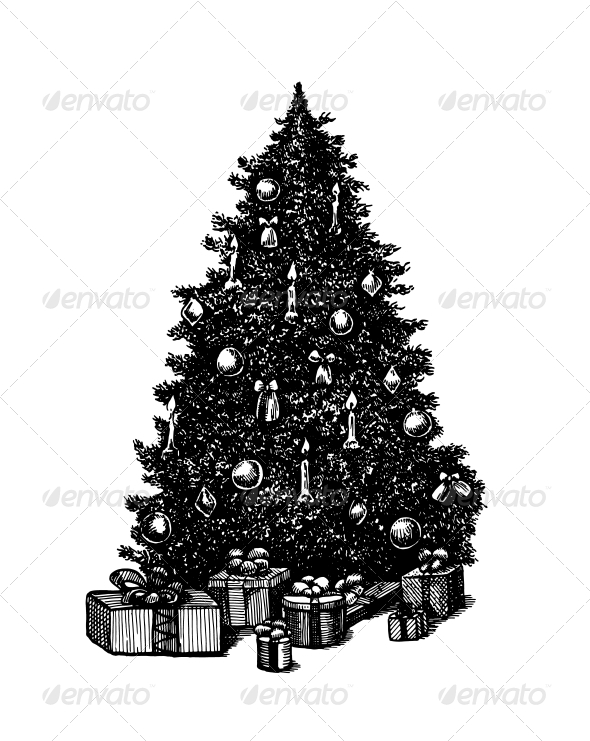 Vector Ink Pen Christmas Tree - Christmas Seasons/Holidays