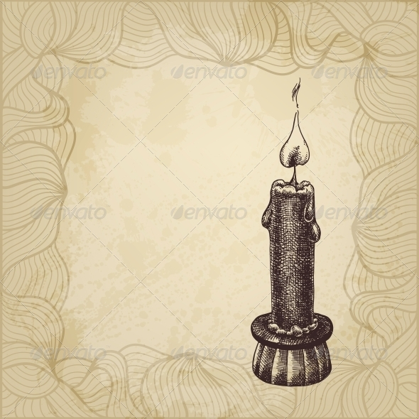 Artistic Illustration with Candle - Backgrounds Decorative