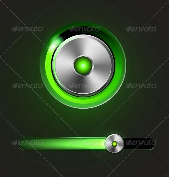 Glossy Media Player Button and Track Bar - Web Elements Vectors