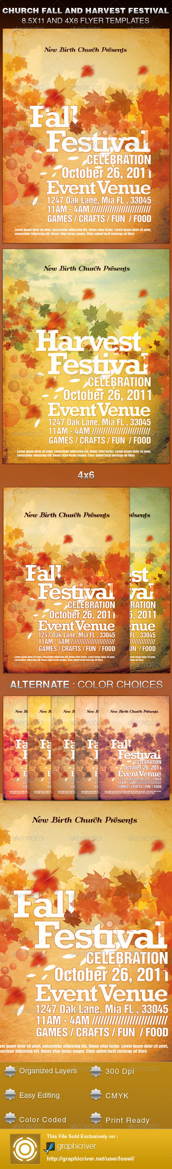 Church Fall and Harvest Festival Template - Church Flyers