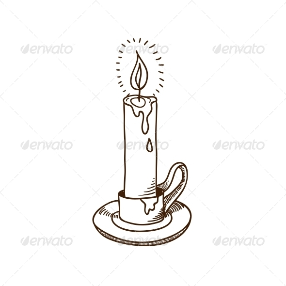 Burning Candle Sketch - Christmas Seasons/Holidays