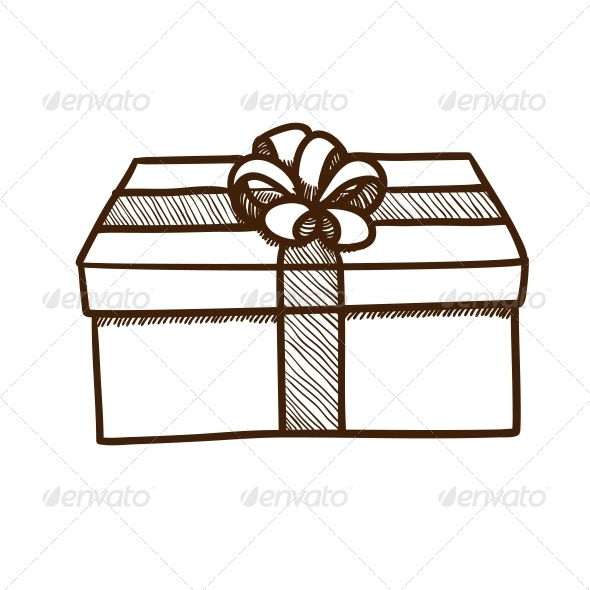 Present Box with Ribbon and Bow. - Christmas Seasons/Holidays