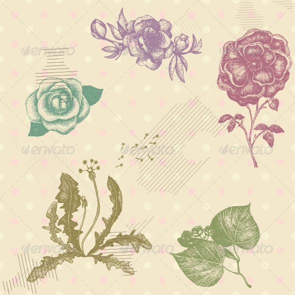 Retro Vector Seamless Pattern  - Patterns Decorative