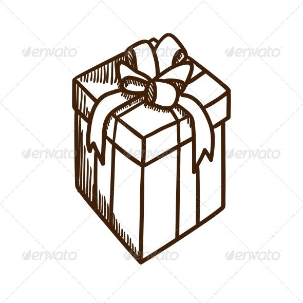 Present Box with Ribbon and Bow. - Christmas Seasons/Holidays