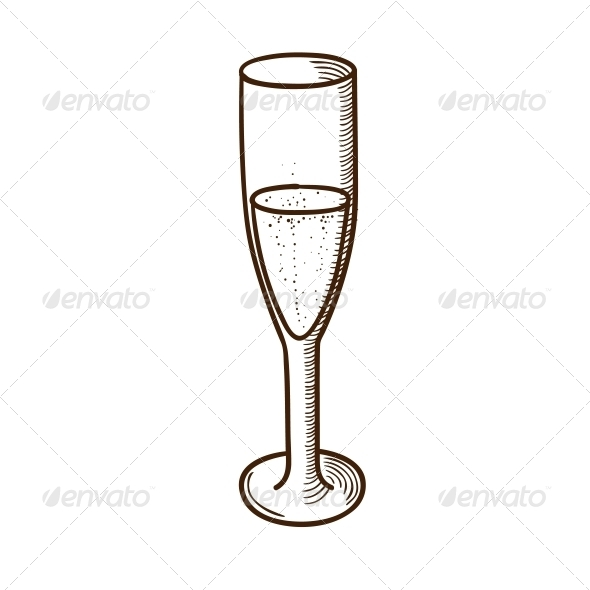 Champagne Glass Sketch - Christmas Seasons/Holidays