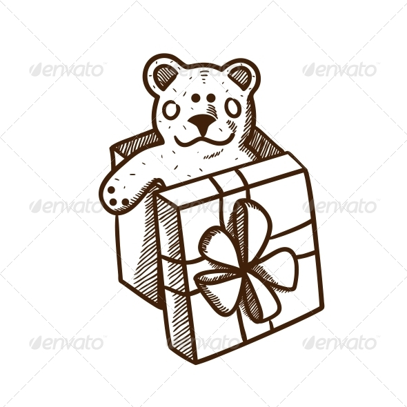 Present Box with Teddy Bear - Christmas Seasons/Holidays