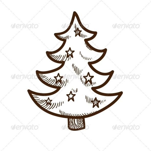 Fir Tree with Stars. - Christmas Seasons/Holidays