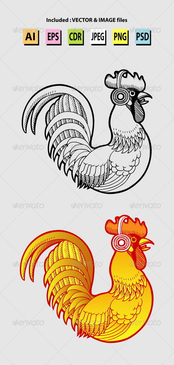 Rooster Listening Music Illustration - Animals Characters