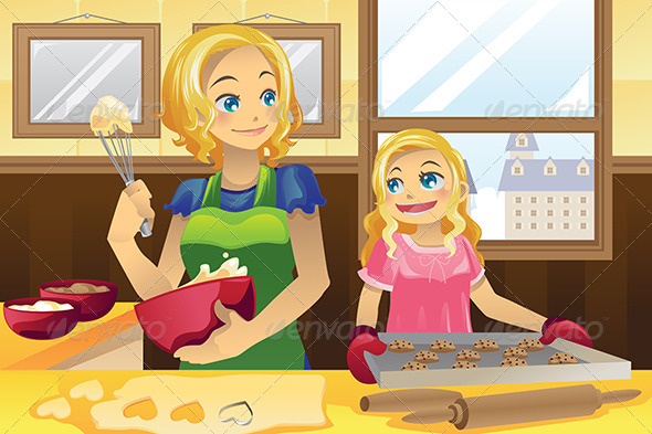Mother Daughter Baking Cookies - People Characters