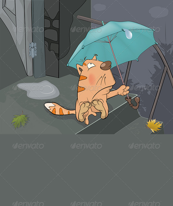 Cat and an Autumn Rain Cartoon  - Animals Characters