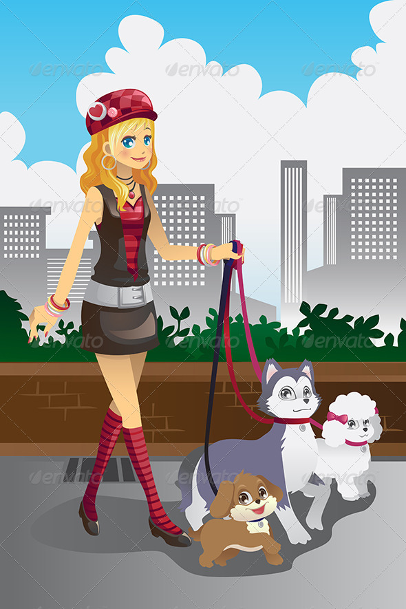 Girl Walking her Dogs - People Characters