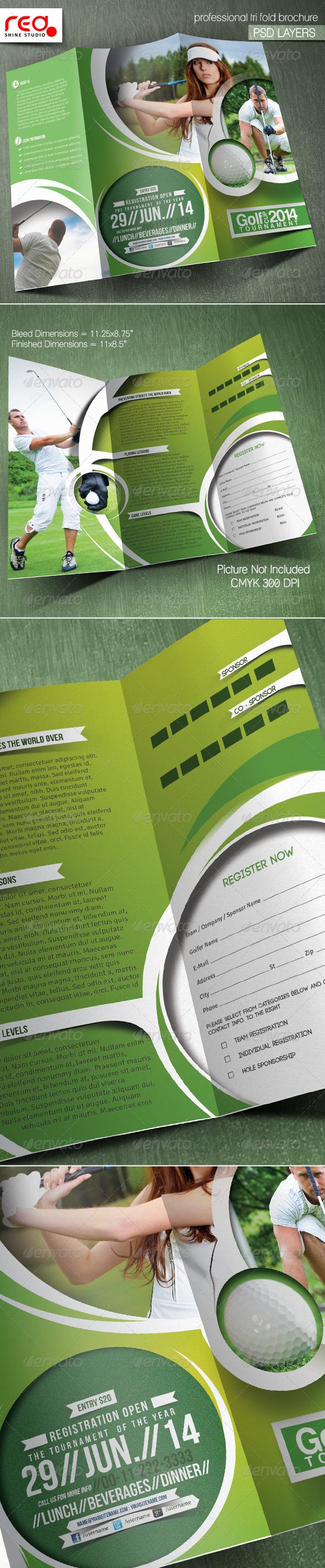 Golf Tournament Trifold Brochure Template - Catalogs Brochures