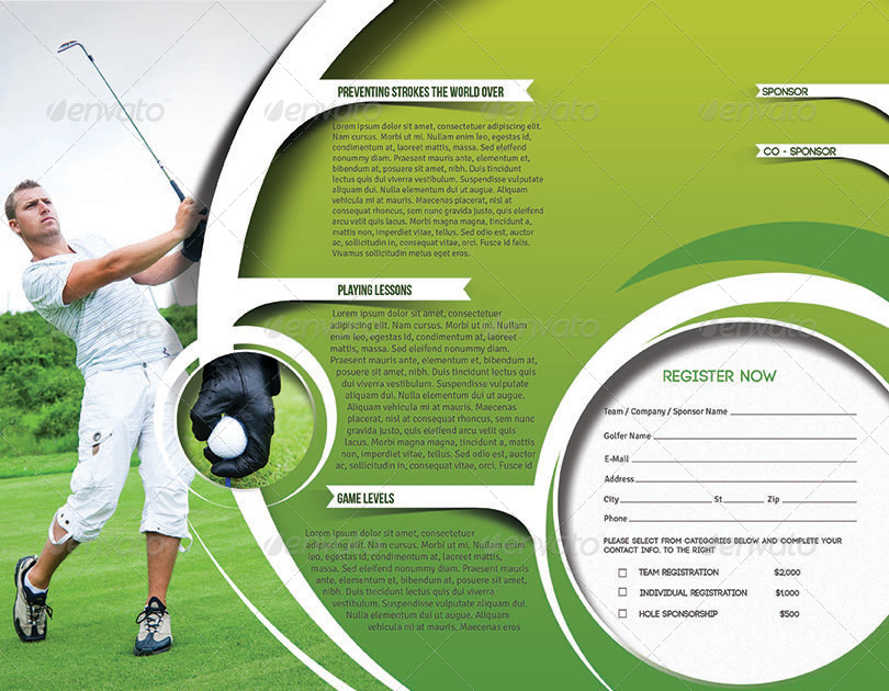 Golf Tournament Trifold Brochure Template By Redshinestudio