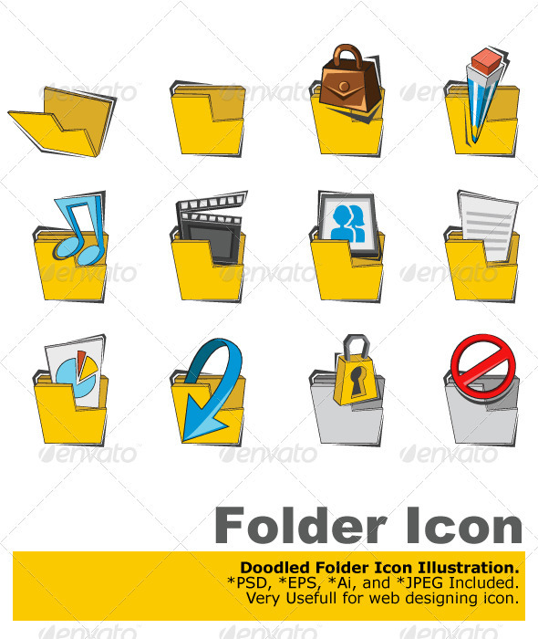Doodled Folder Icon Collection Set - Computers Technology