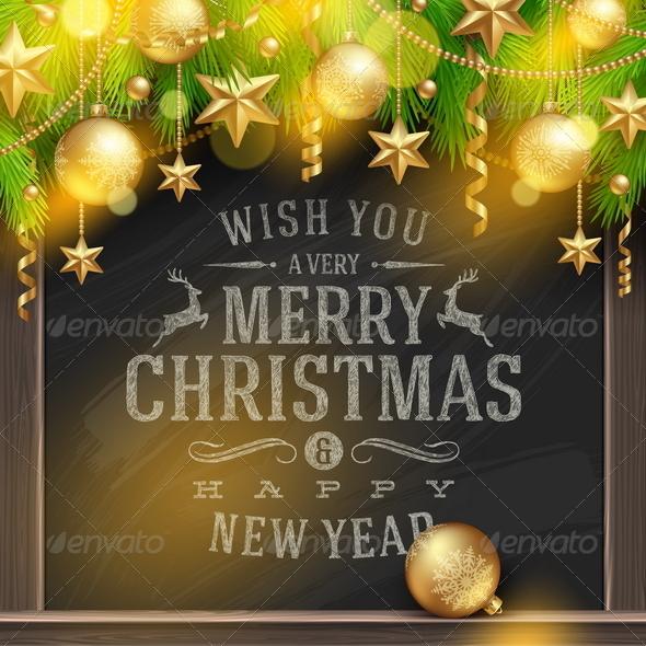 Chalkboard with Christmas Greetings and Decor - Christmas Seasons/Holidays