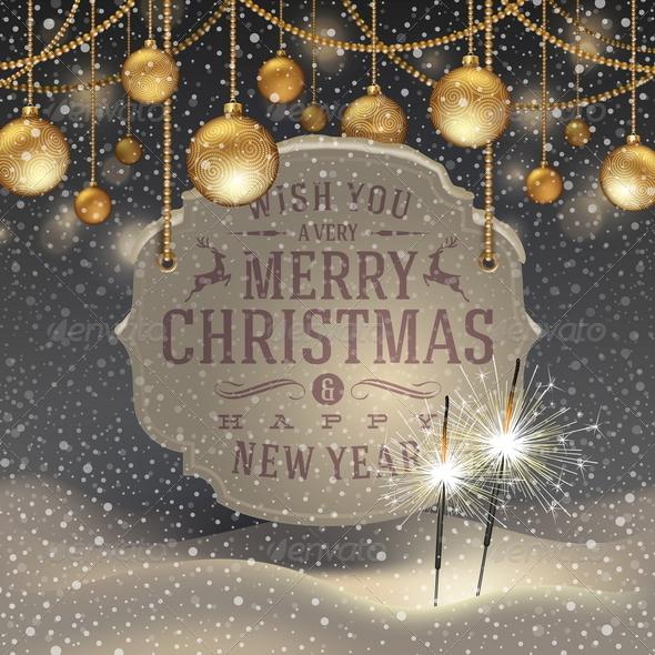 Christmas Illustration with Holidays Greetings - Christmas Seasons/Holidays