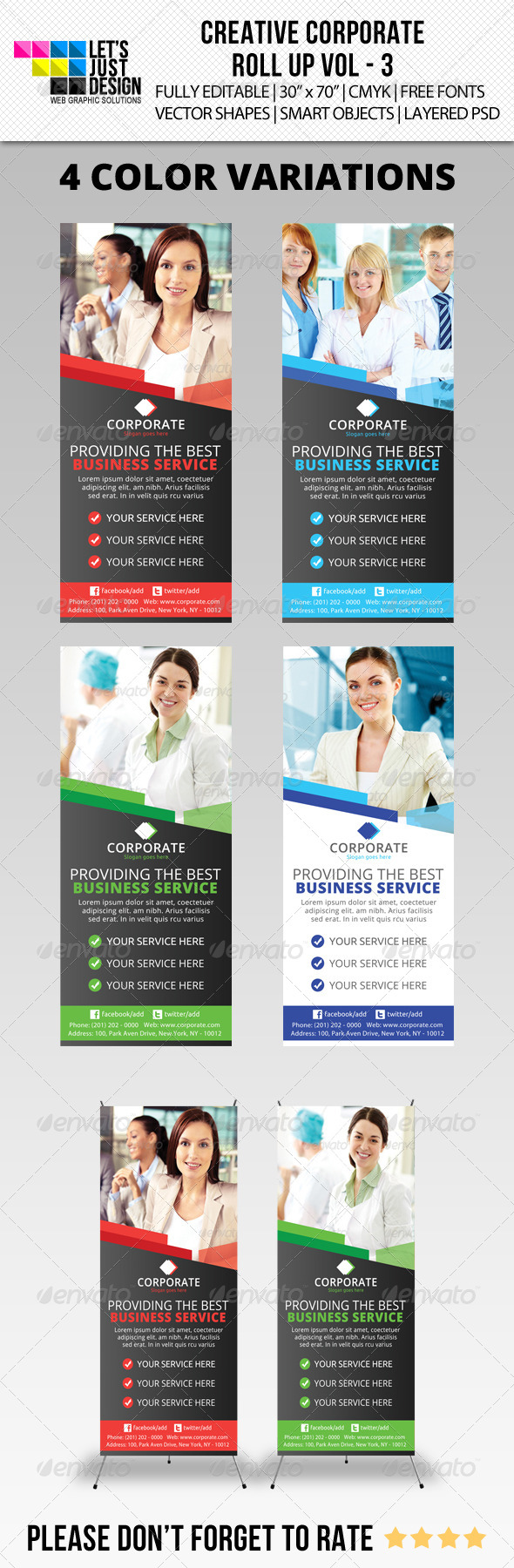 Corporate Roll-Up Banner Vol 3 - Signage Print Templates