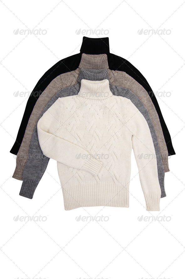 Four classy  sweaters on a white. - Stock Photo - Images