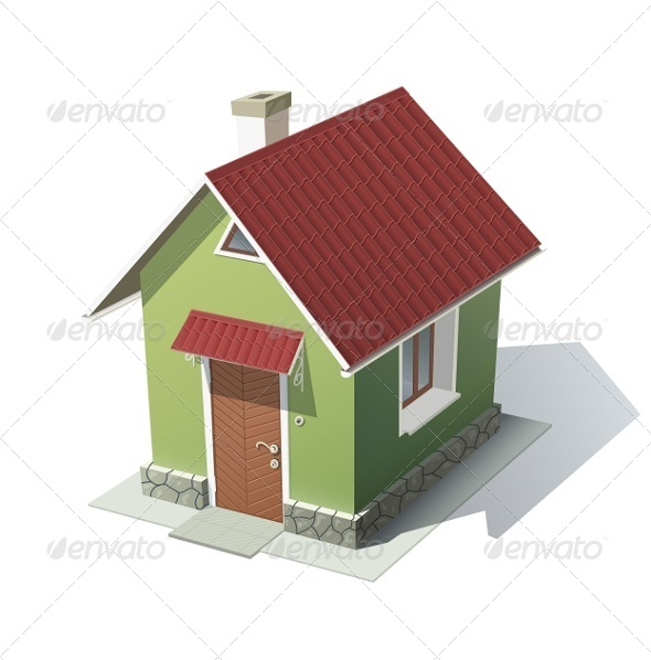Green House with Red Roof - Buildings Objects
