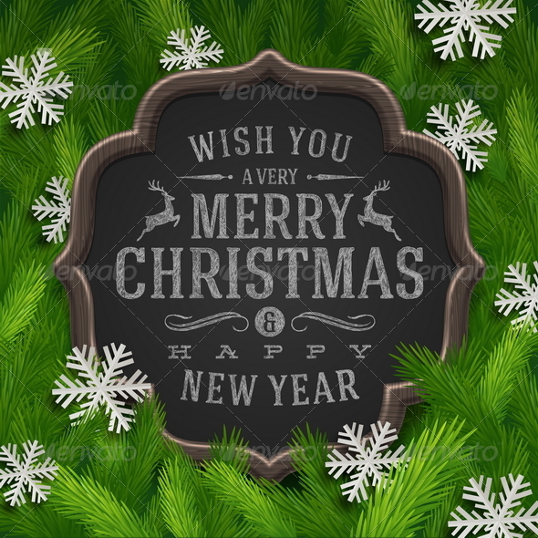 Chalkboard with Christmas Greeting  - Christmas Seasons/Holidays