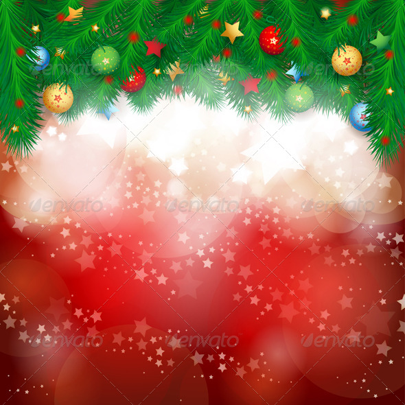 Christmas Background with Fir Branches - Christmas Seasons/Holidays