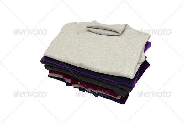 Stylish colorful sweaters on a white. - Stock Photo - Images