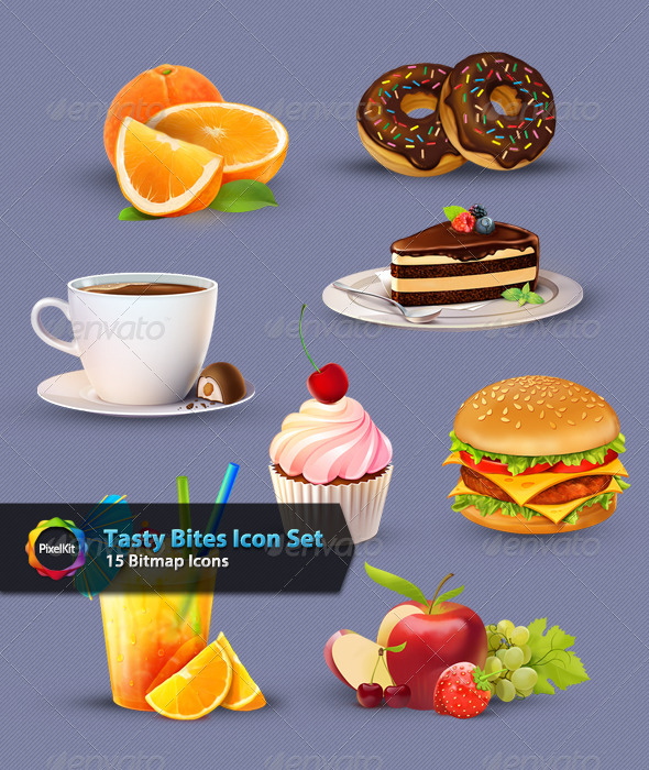 Tasty Bites Icon Set - Food Objects