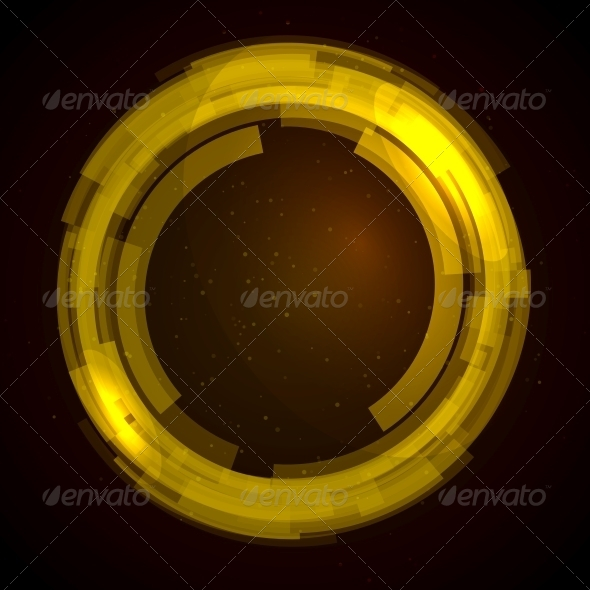 Abstract Technology Circles Vector Background - Abstract Conceptual