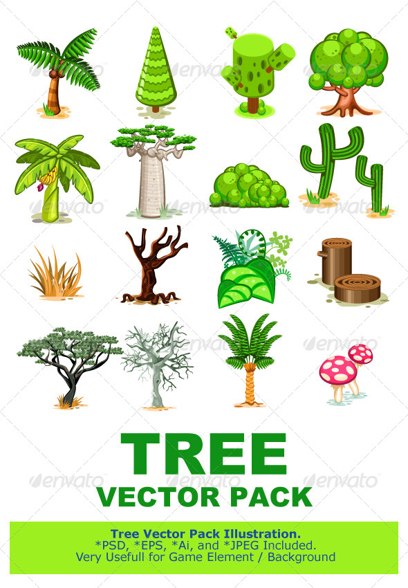 Tree Vector Illustration Collection Pack - Flowers & Plants Nature