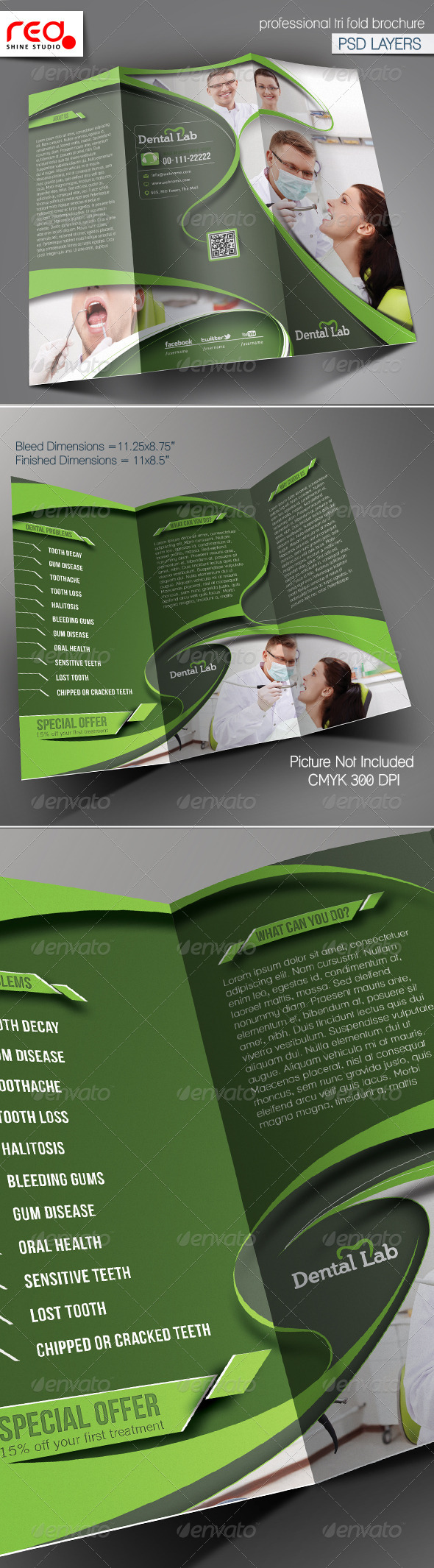 Dental Trifold Brochure Template - Corporate Brochures