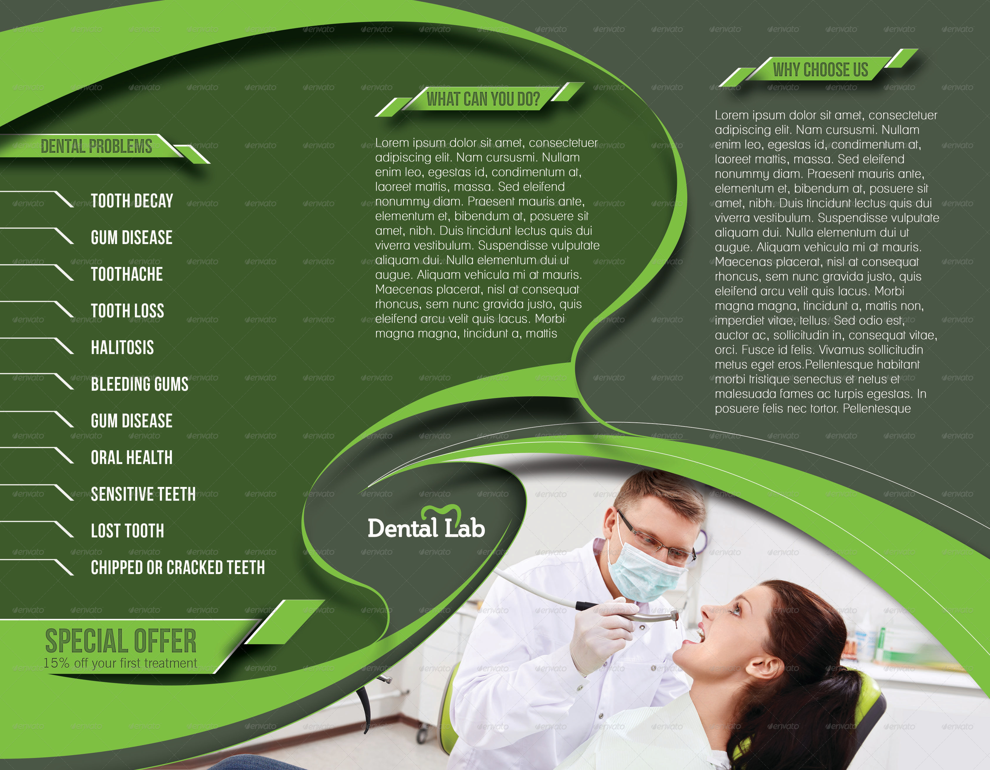 Dental Trifold Brochure Template By Redshinestudio GraphicRiver - Dental brochure template