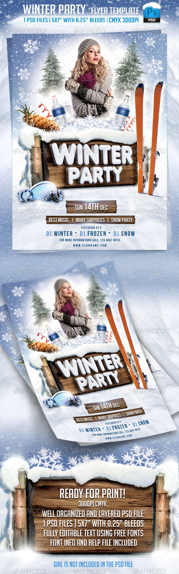 Winter Party Flyer Template - Flyers Print Templates