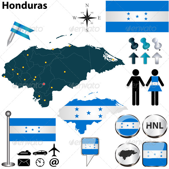 Map of Honduras - Travel Conceptual