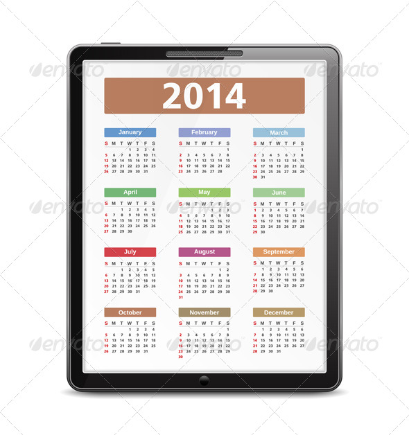 2014 Calendar - Objects Vectors